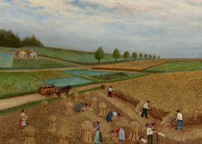 Wheat Field with Peasants Working